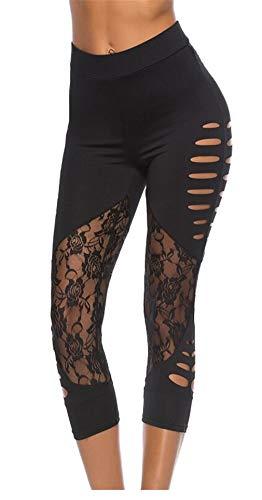 d81e9a135f38 Fliegend Donna 3/4 Leggings Vita Alta Pantaloni da Yoga Patchwork di Pizzo  Pantaloni Sportivi
