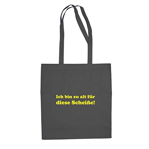 Planet Nerd Ich bin zu alt für diese Scheiße! - Stofftasche/Beutel, Farbe: grau (John Mcclane Kostüm)