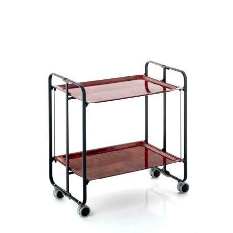 trolley. et pliable à cadre métallique de couleur noire, stratifié en orme plateaux en mélamine Motif fraises Multicolore