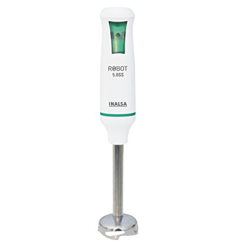 Inalsa Robot 5.0 SS 500-Watt Hand Blender with 2 Year Warranty (White/Green)