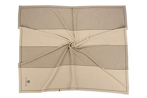 Artisans du Cachemire Plaid 100% ECO Cashmere 4 Panels dans Les Couleurs Naturelles du Cachemire Beige et Marron (Non Teints). Finition du Tissu martre. 140 x 190 cm