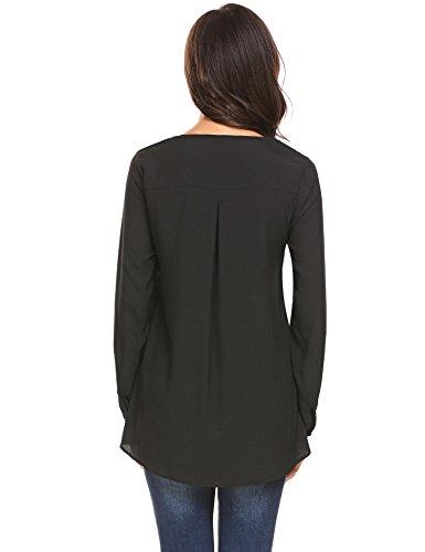 Damen Elegant Chiffon Bluse Langarm Blusenshirt Langarmshirt Hemdbluse Business Bluse Oberteil Party Einfarbig mit Rundhalsausschnitt A-Schwarz