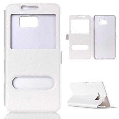 CASE FOR SAMSUNG Handy schützen, Sichtfenster PU-Leder Flip-Cover Kasten mit Standplatz für Samsung-s7/s7 Rand (Verschiedene Farben) für Samsung (Farbe : Weiß, Kompatible Modellen : Galaxy S8)
