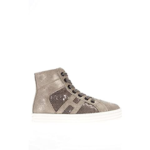 Hogan Rebel Junior Bambina Sneaker alta HXC1410P991DWE699F R141 allacciato tessuto paillettes