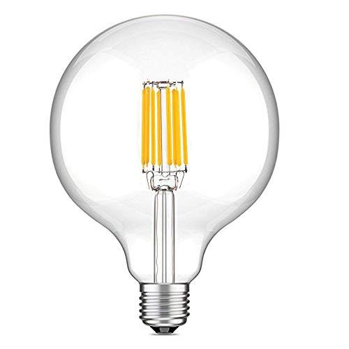 LuxVista 10W G125 E27 1000 Lúmenes LED Globo Edison Filamento Bombilla para Habitación, Comedor, Estudio, Cafetería, Pasillo, Salón, Bar (Luz Fría 6000K)