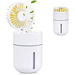 EVILTO 400ml Portable Mini Humidificateur d'air avec Ventilateur, Ventilateur d'Atomisation Ventilateur USB Rechargeable & 2 Mode de Brume Fraîche & 7 Couleurs Changeantes(Blanc)