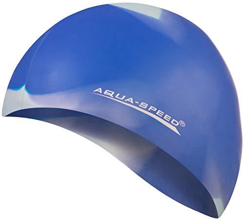 Aqua Speed® Set - BUNT Badekappe + Kleines Mikrofaser Handtuch | Silikon | Bademütze | Badehaube | Schwimmhaube | Erwachsene | Damen | Herren | Kinder, Kappen Designs:64. Bunt / 92