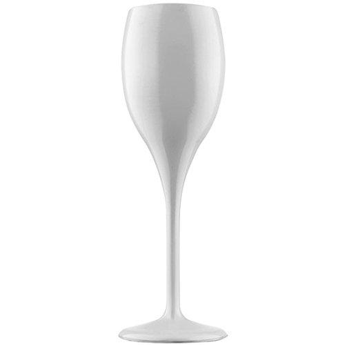 6 flûtes à champagne en plastique incassable blanc