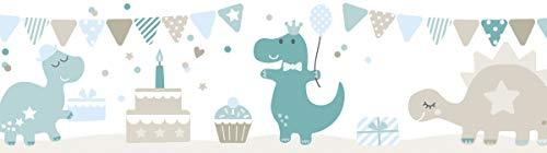 lovely label Bordüre selbstklebend DINOPARTY Petrol/Taupe/HELLBLAU - Wandbordüre Kinderzimmer/Babyzimmer mit Dinosauriern - Wandtattoo Schlafzimmer Mädchen & Junge - Wanddeko Baby/Kinder