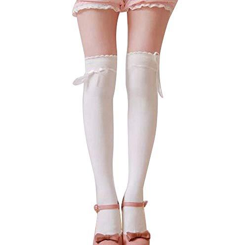 MERICAL Frauen Overknee Mädchen Sexy Baumwolle Hohe Socken Oberschenkel Hohe Strümpfe Strümpfe (Freie Größe, Weiß)