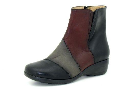 Piesanto Modèle 3956 - Confortable bottines en cuir pour femmes Noir