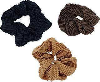Violet & VirtueViolet & Virtue - Juego de 3 cintas para el pelo de satén plisado para mujer, Negro, marrón, cobre, 1 uds. por paquete, 1.00[set de ]