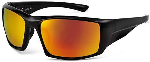 La Optica B.L.M. UV400 CAT 3 Unisex Damen Herren Sonnenbrille Sport Leicht Mountainbike - Einzelpack Glänzend Schwarz (Gläser: Rot verspiegelt)