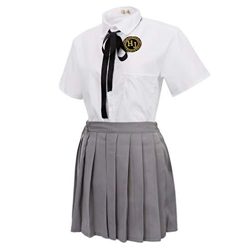 Unbekannt Sharplace Japanische Matrosenanzug Schuluniform Kostüm Outfit Cosplay Set, Gefalteter Röcke und Kurzarm Hemd - Größe S (Japanische Mädchen Halloween-kostüm)