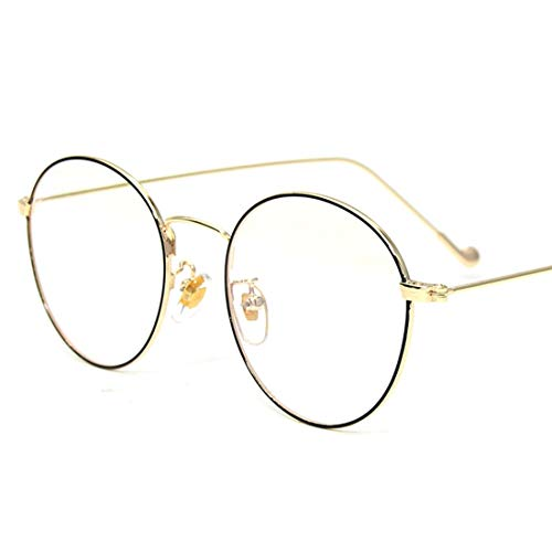 Lightpurple Retro Runde Brille Frame Clear Lens Glasses Brillen ohne Rezept für Damen, Männer (Color : Black-Gold)
