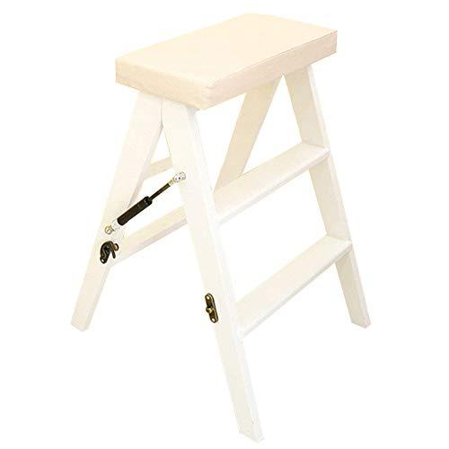 ANHPI-ladder Klappstufen Leiter Multifunktions Massivholz Zuhause Küche Tragbarer Aufsteigender Hocker Mit 3 Stufen,3 Farben,63 cm Hoch,White (3 Bücherregal Birke Regal)
