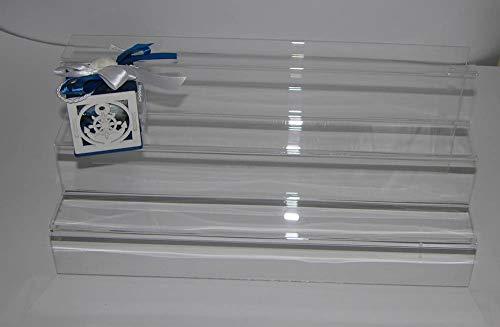 Dmd espositore a scaletta in plexiglass trasparente n. 3 ripiani da cm. 6 ca. dimensioni cm. 40 lungh. x cm. 18 h x cm. 18 largh.