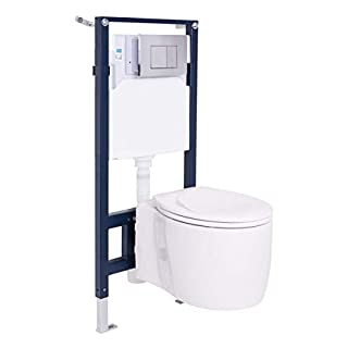Aquariss Concealed Wall Hung Steel Toilet Frame + WC Pan + Cistern + Chrome Flush Plate