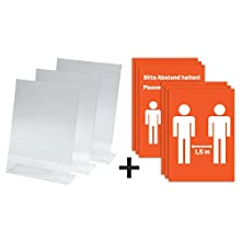 SIGEL TA210 Sign Holder, Slanted, with 6 preprinted Insert Sheets: Please Keep Your Distance, for A4, Single-Sided Presentation, Acrylic, Transparent, 3 pcs.