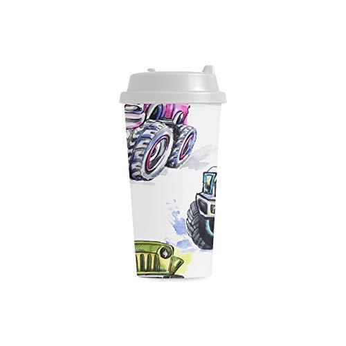 Retro kühles LKW Auto Fahrzeug Gewohnheits personalisierter Druck 16 Unze doppelwandiger Plastikisolierte Sport Wasser Flaschen Schalen Pendler Reise Kaffeetassen für Studenten Frauen Milch Teetasse -