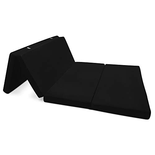 Beautissu Matelas Pliant d'appoint Campix - Pouf Pliable - 120 x 195 cm - Confortable lit d'invité - Futon - Noir