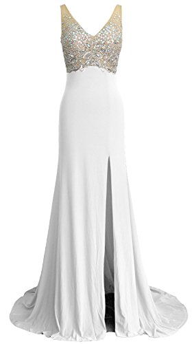 MACloth Women Mermaid V Neck Long Prom Dress Wedding Party Formal Evening Gown Weiß