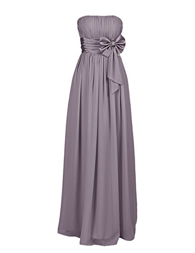 Dresstells, Robe de soirée avec nœud à boucles, robe de cérémonie sans bretelles, robe longue de demoiselle d'honneur Gris
