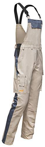 strongAnt® - Latzhose easyClean Herren Berlin   Männer Arbeitslatzhose mit Kniepolstertaschen. Tischler Fliesenleger Schreiner - Beige-Grau, Gr. 102