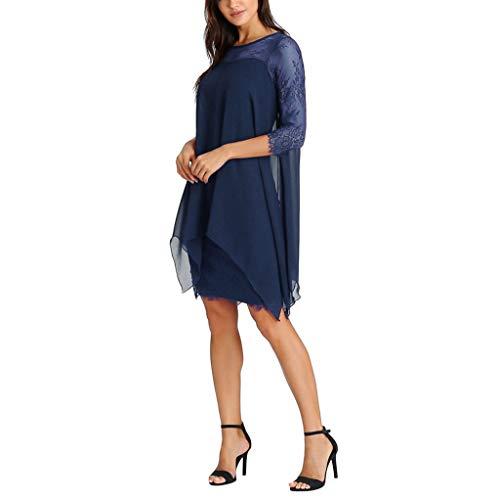 Chiffon-Spitze Kleid Damen Überlagerung mit DREI Ärmeln Locker lässig Kleid Übergröße S-5XL URIBAKY