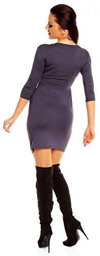 Zeta Ville - Robe poches manches 3/4 décolleté en V Taille 38-48 - Femme - 236z Bleu Gris