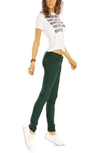 Bestyledberlin Damen Hüftjeans, Schmale Slim Fit Jeans, Chino Style Denim Hose j23l Grün
