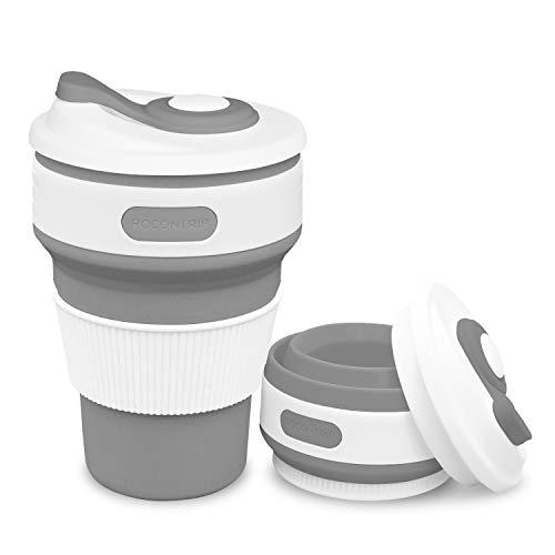 ROCONTRIP Faltbare Tasse, Silikon Becher Kaffee Camping Tasse Reise Geschenk Becher 350ml 100% Lebensmittelqualität Silikon BPA-frei geeignet für Outdoor-Aktivitäten Camping Wandern Camping-becher