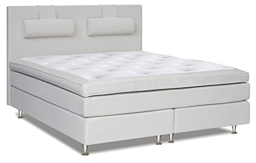 Boxspringbett SIMILAN, Box: Bonell - Federkern, Matratze: Taschen - Federkern, Top Matress: Schaumstoff - Liegefläche: 120 x 200 cm - Farbe: Weiß