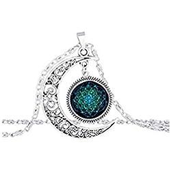 Collar blanco de espiral azul Fractal de media Luna