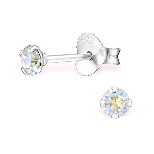 Bungsa grau-klare Kristall-Ohrstecker mit 3mm SWAROVSKI Kristall rund aus 925 Silber - Moonlight Ohrringe mit SWAROVSKI-Stein