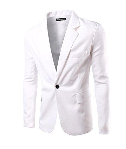 Herren Sakko Blazer Slim Fit Business Lässig Ein Knopf Jacke Blazer Sakko Weiß S (Ein-knopf-blazer-jacke)