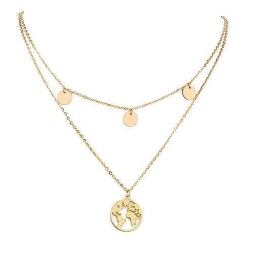 Elegante Multilayer Halskette mit rundem Weltkarten-Anhänger (Gold)