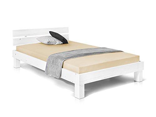 Massivholzbett Pumba Holzbett Doppelbett, Material Massivholz, Made in Germany, 120x200 cm, Weiss