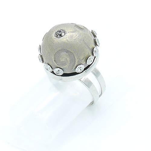 Großer silberner Bronze-Ring mit Swarovski-Kristall, Weihnachtsgeschenk Valentinstag Jubiläum Hochzeitsfrau