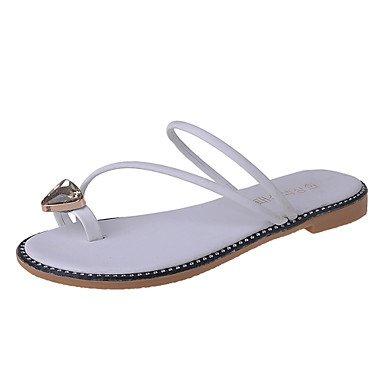 Zhenfu Zapatillas De Mujer & Amp; Chanclas De Verano De Tacón Plano De Cuero Casual Con Pies De Diamantes De Imitación Blancos
