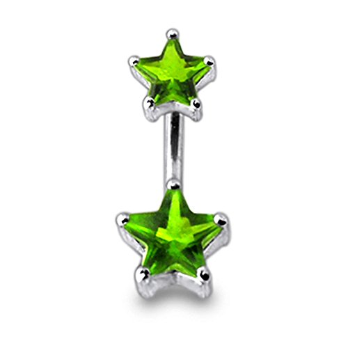 Bijou de corps Anneau de nombril en argent motif Pierres en étoile Light Green