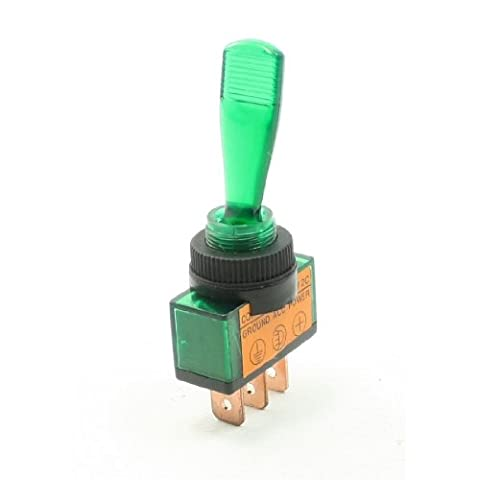 Green Illuminated Light SPST ON/OFF 2 Position 3P Toggle Switch DC 12V 20A