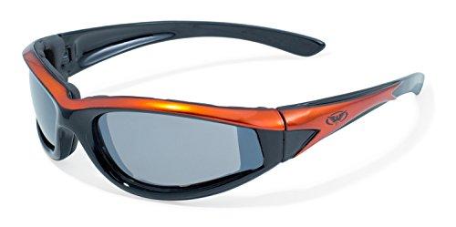 Global Vision Eyewear Sonnenbrille Hawkeye mit Orange Rahmen und Flash Mirror Objektive