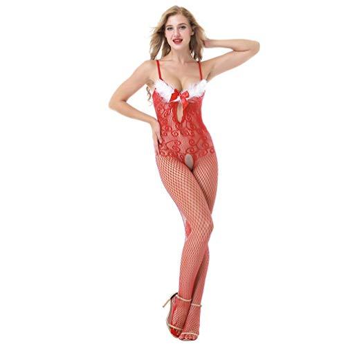 MERICAL Frauen Weihnachten Halter Dessous Feder Bodystockings Perspektive Bodysuit(Freie Größe,Rot-B)