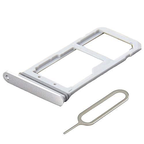 MMOBIEL SIM/SD Karte Schlitten Tray kompatibel mit Samsung Galaxy S7 G930-5.1 Inch (Weiß/Silber) inkl. SIM Pin