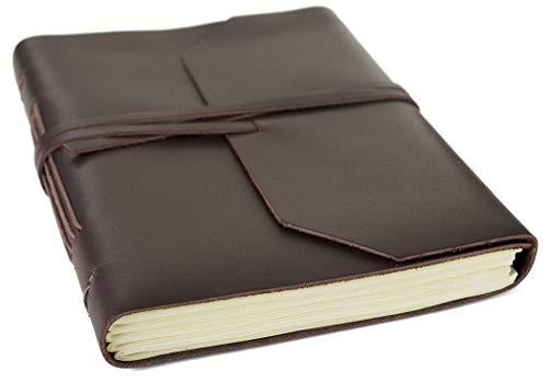 Taccuino in Pelle Marrone Indra, Realizzato a mano, pagine 100% cotone, Sacca del regalo in tela (15cm x 20cm)