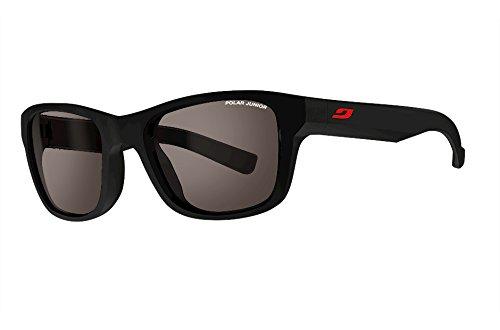 Julbo Reach Sonnenbrille, polarisiert Unisex Kinder, schwarz matt/Logo rot
