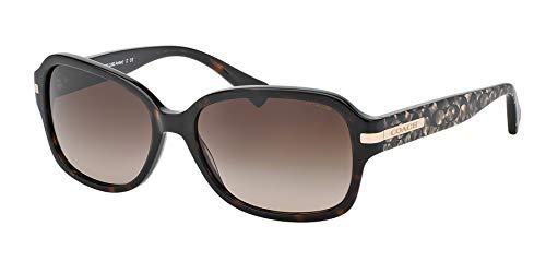 Coach HC8105 L082 Amber Sunglasses 522713 Dk Tortoise/Beige Ocelot Sig C Dark Brown Gradient 58 16 135