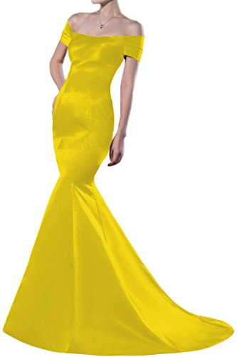 Sunvary Mermaid Off-the-spalla raso per abiti da sera lungo Homecoming Gowns Yellow