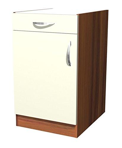 smartmoebel Küchen Unterschrank 50 cm Creme Matt ohne Arbeitsplatte - Sienna